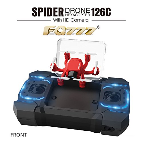 FQ777-126C FQ777 126C MINI Drone with 2MP HD Camera RC Quadcopter MODE1 & MODE2 Switch Headless 4CH 6Axis Gyro 3D-flip One-key Return Spider RC Hexacopter – Red