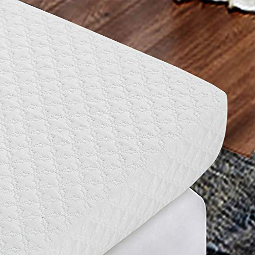 INGALIK 3-Inch Memory Foam Mattress Topper Queen Size Pressure-Relieving Bed Topper (with Bamboo Fiber Mattress Cover, Zipper Opening and Closing, Removable and Washable