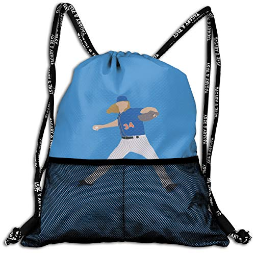 Drawstring Backpack Blue New York Syndergaard Text Pic Shoulder Bags Rucksack For Kids Teens Boys And Girls Sport Gym Sack Cute Gym Bags ()