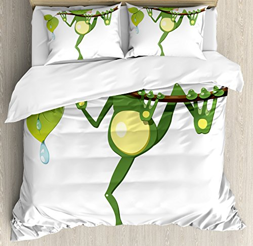 Ambesonne Animal Duvet Cover Set King Size, Little Frog on Branch of the Tree in Rainforest Nature Jungle Life Art Earth, Decorative 3 Piece Bedding Set with 2 Pillow Shams, Green White Yellow (Frogs Rainforest Tree)