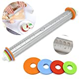 """Rolling Pin - Adjustable Stainless Steel Pasta Rolling Pins Dough Pastry Roller for Kids Baking Cookies Pizza Pie Pastries Pasta - with 4 Adjustable Removable Thickness Rings (1/16inch, 1/8in, 1/4in and 3/8"""" in)"""