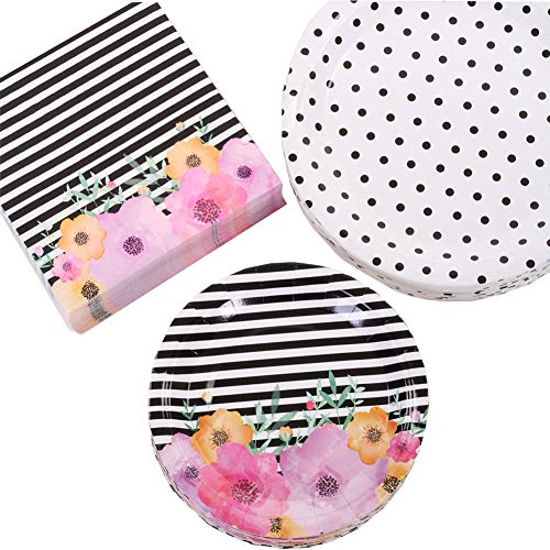 Floral Party Plates - Andaz Press Modern Floral Party Plates and Napkins Set, Bulk 50-Pack, 9-Inch Plates, 7-Inch Plates, 6.5-Inch Lunch Napkins, Flower and Black Stripes Modern Party Tableware Kit, Party Supplies