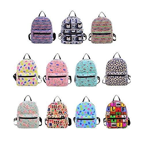 Espeedy Las mujeres de moda lienzo mochila escuela bolsas para adolescentes niñas adorable lindo Cartoon bolso de impresión mochila #2
