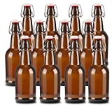12 pack 16oz Amber Glass Beer Bottle Bottles with Easy Wire Swing Cap & Airtight Rubber Seal. Perfect for Home Brewing Wine.