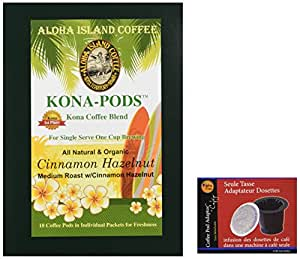 Cinnamon Hazelnut Flavored Kona Coffee Blend for Keurig K-cup Brewing Systems! Free Pod Adapter for Eco-Friendly Brewing, 18 Soft Coffee Pods and 1 Reusable Adapter
