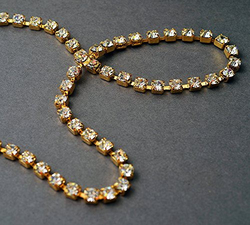 (4mm Swarovski Crystal Rhinestone Chain by yard, Crystal /Gold Plated Cup Chain, SW-127004)