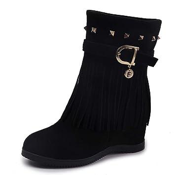 Mujer y Niña otoño fashion Botines,Sonnena ❤ Botines de plataforma con tacón de cuña Zapatos borla de mujer Aumento de botas Casuals de moda de ...