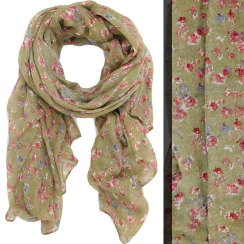 Bucasi English Floral Liberty Print Lightweight Fashion Scarf in Tan English Floral Print