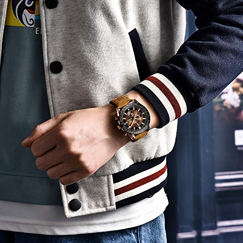 Benyar Relojes Hombre Relojes De Pulsera Cronografo Disenador Impermeable Reloj Hombre Banda De Cuero Analogicos Fecha De Pulsera Regalo Elegante