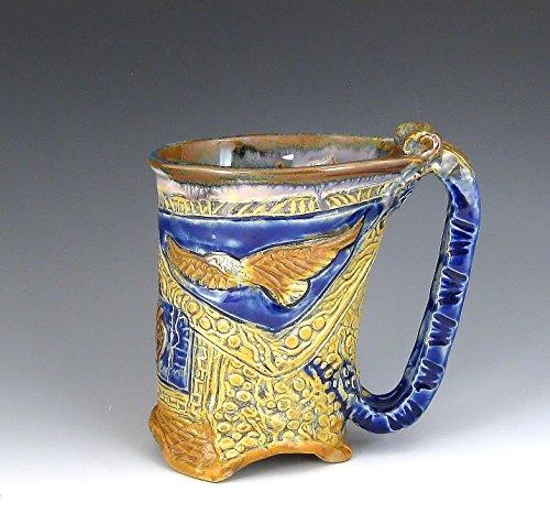 One Stoneware - Eagle Kokopelli Bear Mug, Carved Stoneware, Hand-built Mug (#41)