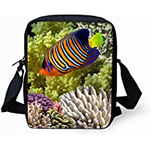 Messenger Bag Travel Aquarium Kids Crossbody Daypack Blue Fish Dolphin Print