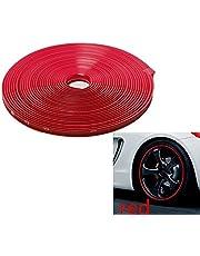 INION®, 8 mm x 8 m, kleur rood/rood, velgenbescherming, aluminiumvelgenbescherming, zelfklevende beschermband, kunststof beschermstrips, beschermstrips, kunststof, sticker, profiel ter bescherming van de velg, sarachen
