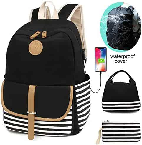 e19bfbbc9eff SCIONE School Backpacks for Teen Girls with USB Charging Port and  Waterproof Backpack Cover Lightweight Canvas
