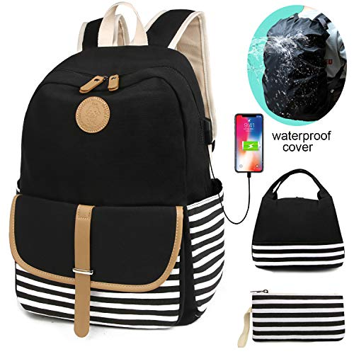 (SCIONE School Backpacks for Teen Girls with USB Charging Port and Waterproof Backpack Cover Lightweight Canvas Stripe Backpack Cute Teen Bookpacks Set Bookbags+Insulated Lunch Bag+Pouch 3 in)
