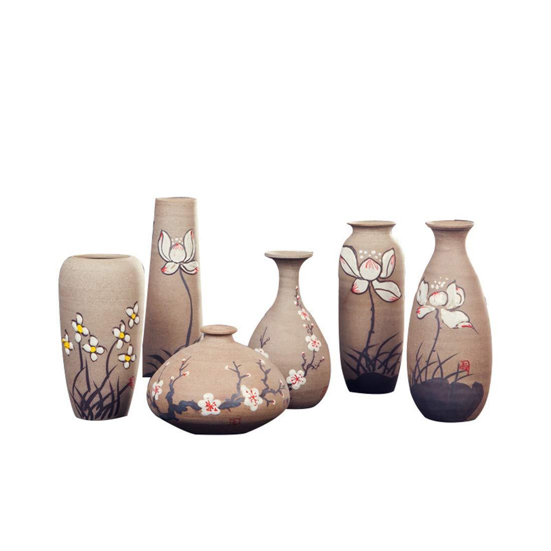 OWNFSKNL 景徳鎮中国風の手描きの小さな花セラミック花瓶はリビングルームのポーチの装飾に適して   B07QKCBY44