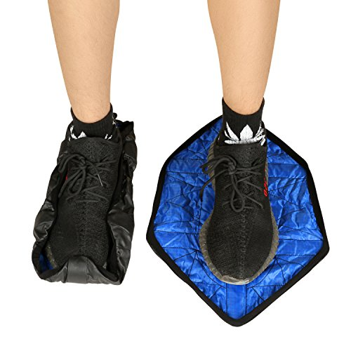HK Shoe Covers for Indoors Non Slip Waterproof Shoes Wrap Automatic Hands Free Covers (Blue) Pair