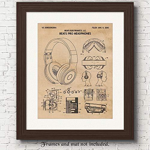 Original Beats by Dr Dre Headphones Patent Art Poster Prints, Set of 1 (11x14) Unframed Photo, Great Wall Art Decor Gifts Under 15 for Home, Office, Shop, Man Cave, Student, Teacher, DJs & Hip Hop Fan