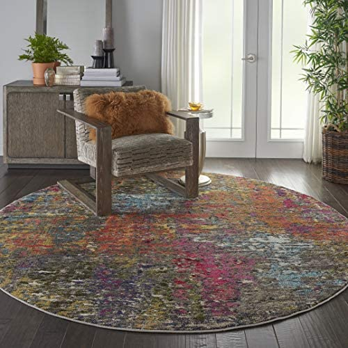 Nourison Celestial Colorful Modern Multicolor Area Rug 7'10″XROUND