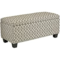 Cortesi Home Kiki Fabric Storage Long Bench Ottoman, Grey