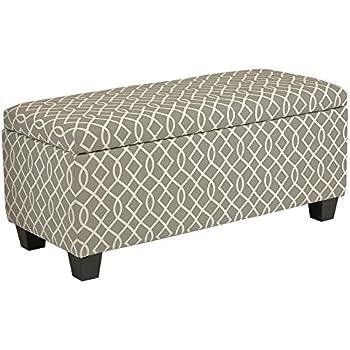 Charming Cortesi Home Kiki Fabric Storage Long Bench Ottoman, Grey