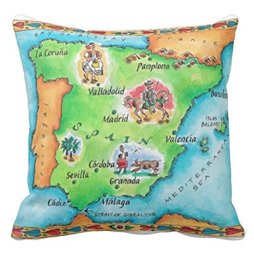 Amazon.com: BHUIA Map Of Spain Throw Pillow Case: Home & Kitchen