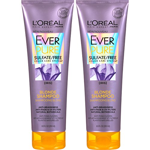 L'Oreal Paris Hair Care EverPure Blonde Sulfate Free Shampoo for Color-Treated Hair, Neutralizes Brass + Balances, For Blonde Hair, 2 Count (8.5 Fl. Oz each) (Best Purple Shampoo For Blonde Color Treated Hair)