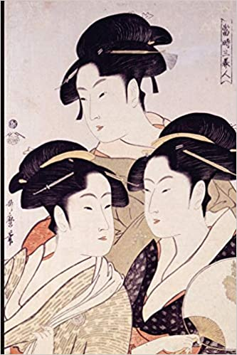 Genuine woodprint painting of geishas something
