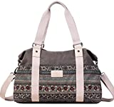 ArcEnCiel Women's Large Canvas Shoulder Hand Bag Tote Bag (Gray)