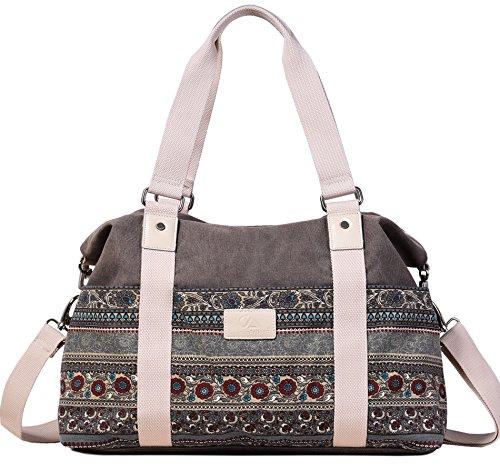 ArcEnCiel Women's Large Canvas Shoulder Hand Bag Tote Bag (Gray)