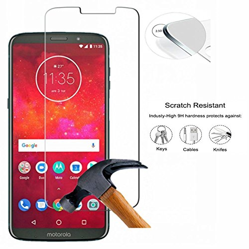 Moto Z3 Play Screen Protector,Coohaisee [Anti-Scratch] [Anti-Bubble][Case Friendly][9H Hardness] Tempered Glass Screen Protector for Moto Z3 Play