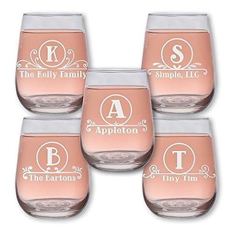 Monogram Circle 17oz Stemless Wine Glass (one) 6+ Styles w/ your Custom Text - Monogram Pint Glass