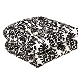 Pillow Perfect Indoor/Outdoor Damask Wicker Seat Cushions, 2 Pack Black/Beige