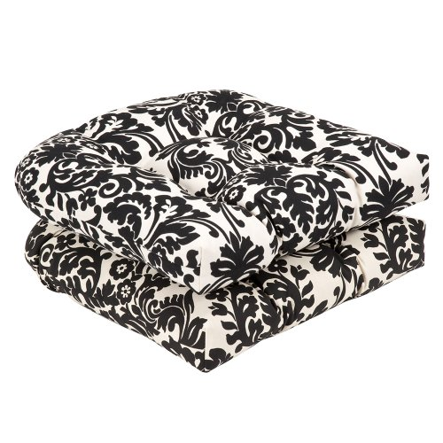Pillow Perfect Indoor/Outdoor Damask Wicker Seat Cushions, 2 Pack, Black/Beige (Wicker White Sets Outdoor Dining)