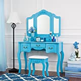 Fineboard Beauty Station Makeup Table and Wooden Stool Set with Mirrors and Organization Drawers (Blue)
