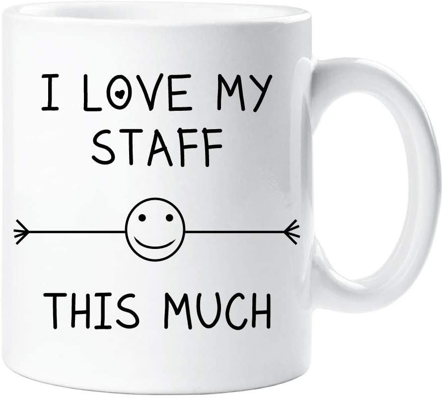 I Love My Staff This Much Mug Friend Colleague Office Employee Secret Santa  Birthday Gift Christmas Novelty Humour Funny: Amazon.co.uk: Kitchen & Home