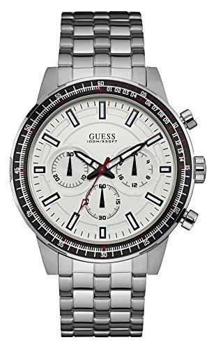 Guess Men's U0801G1 Silver Stainless-Steel Japanese Quartz Dress - Watch Guess Wrist
