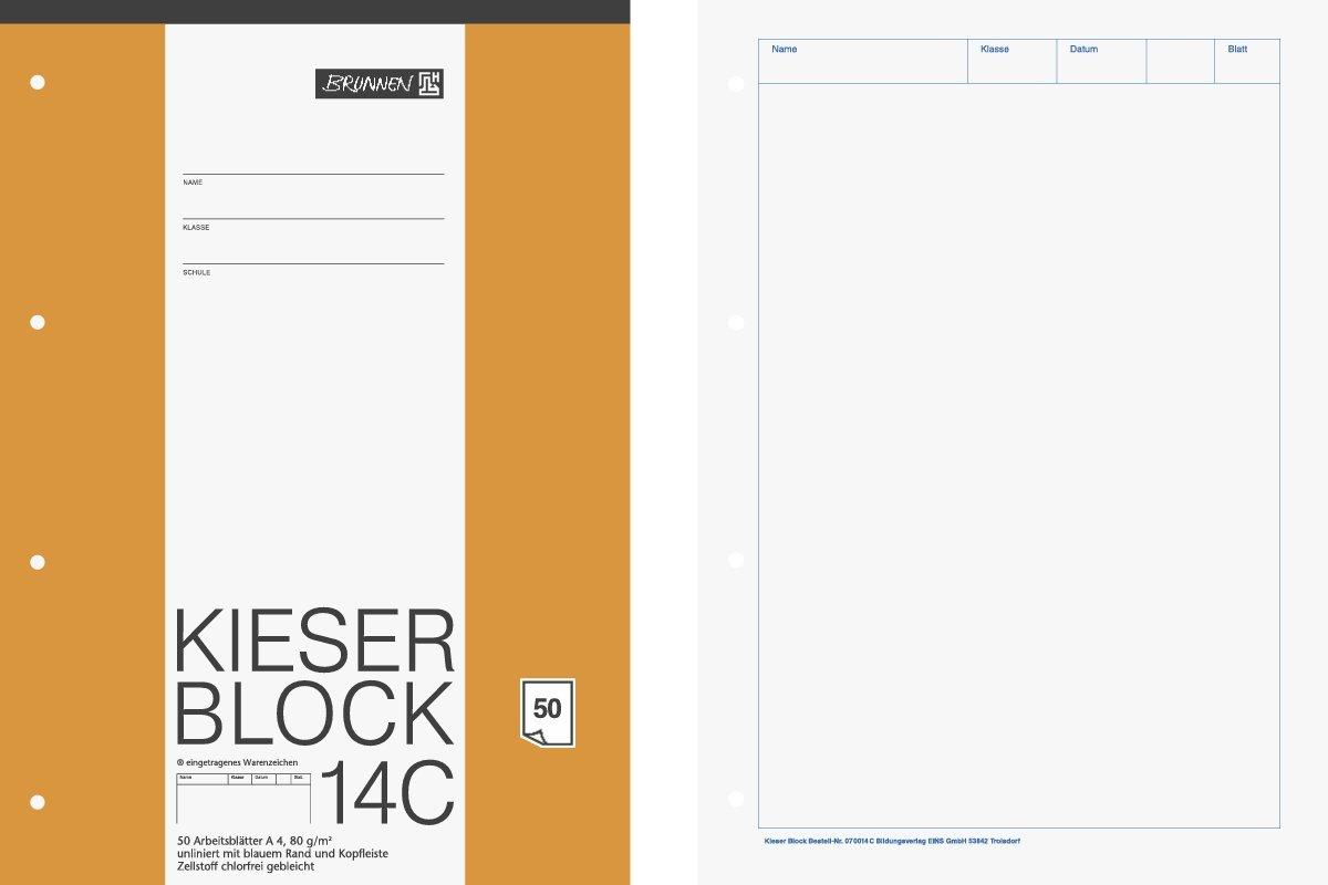 Brunnen 1042924 KIESER-Block Lineatur 20 (A4, 50 Blatt, blanko, 80 g/m², gelocht) 80 g/m² Baier & Schneider