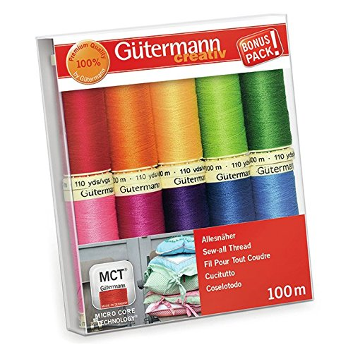 Thread 100m Spool - Gutermann Sew-All Colorful Set 100% Polyester Thread Set 10 x 100m Reels