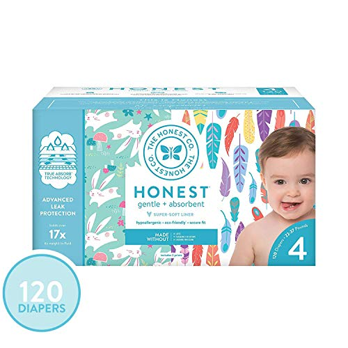 The Honest Company Super Club Box Diapers - Newborn Diapers, Size 4 - Painted Feathers & Bunnies Print | TrueAbsorb Technology | Eco-Friendly with Plant-Derived Materials | Hypoallergenic | 120 Count