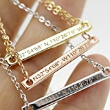 A Coordinate bar Necklace Customized Diamond Engraving 16k Gold Plated GPS Personalized bridesmaid Wedding Graduation Birthday Anniversary Vacation Mothers day Gift SAME DAY SHIPPING GIFT TIL 2PM CDT