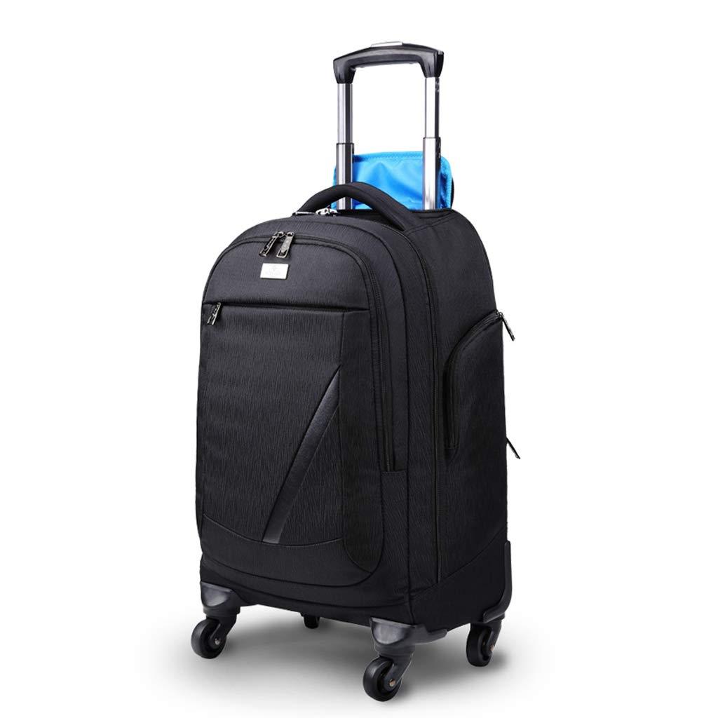 2車輪トロリーバックパックエグゼクティブモバイルオフィスビジネスハンド荷物、ラップトップリュックサックショルダーバッグキャビン承認 (Color : Black, Size : 35*28*48cm) B07SBDWTKW Black 35*28*48cm