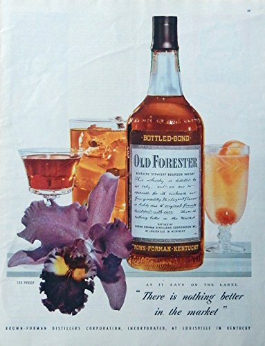 Old Forester Whiskey, print ad. Color Illustration (drinks and an orchid flower) original 1947 Magazine Art