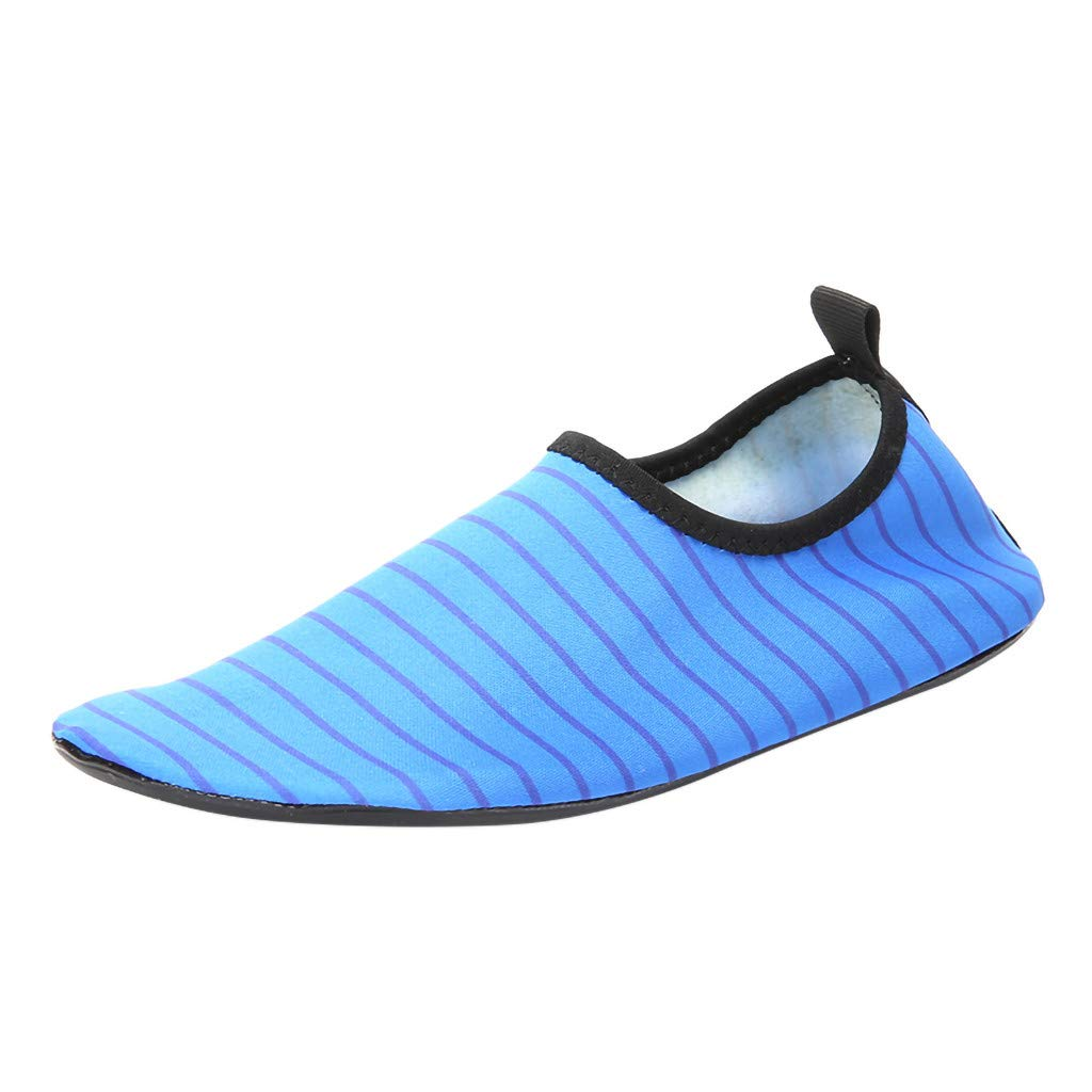 Mysky Fashion Women Couple Striped Print Beach Sea Swim Surf Quick Dry Barefoot Water Shoes