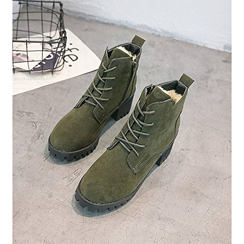 Heel Casual for Mid Boots Green Toe Boots Combat Nubuck Winter Green Army Women's HSXZ ZHZNVX Round Chunky leather Calf Shoes Army Brown Boots Black xaTvwO8