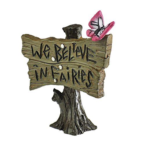 Georgetown Home & Garden Miniature Butterfly Sign We Believe in Fairies Garden Decor
