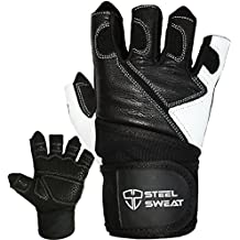 Weightlifting Gloves with 18-inch Wrist Wrap Support for Workout, Gym and Fitness Training - Best for Men and Women Who Love Weight Lifting - Leather ZED Black