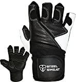 Steel Sweat Weightlifting Gloves with 18-inch Wrist Wrap Support for Workout, Gym and Fitness Training - Best for Men and Women Who Love Weight Lifting - Leather ZED Black XL