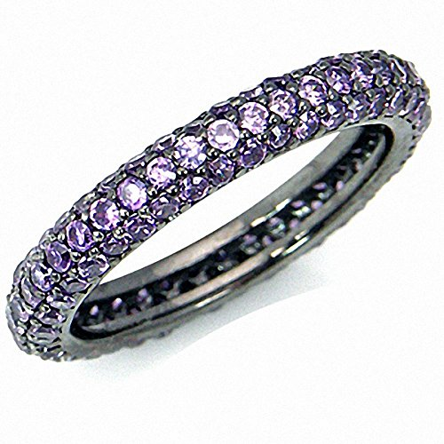 Glamorous Amethyst Purple CZ 925 Sterling Silver Eternity Band Stack/Stackable Ring Size 8.5