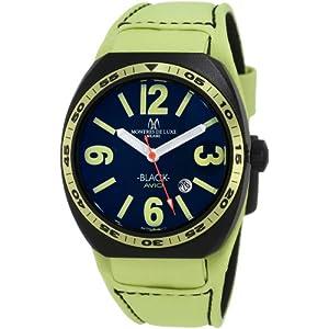 Montres De Luxe Men's BK2503 Avio Aluminum Black PVD Green Leather Cuff Watch