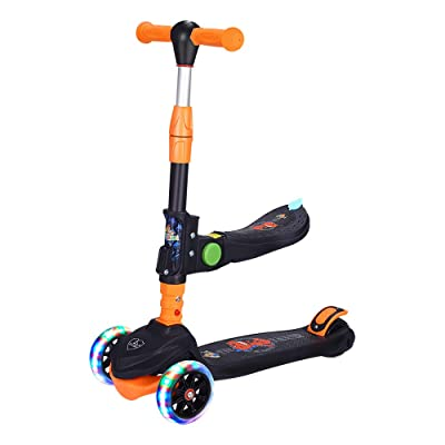 JIKE SLIDE Kick Scooter with Removable Seat Great for Kids & Toddlers Girls or Boys,3 Adjustable Height,Wide Deck PU Flashing Wheels for Children from 2 to 14 Year-Old(Black with Seat) : Sports & Outdoors